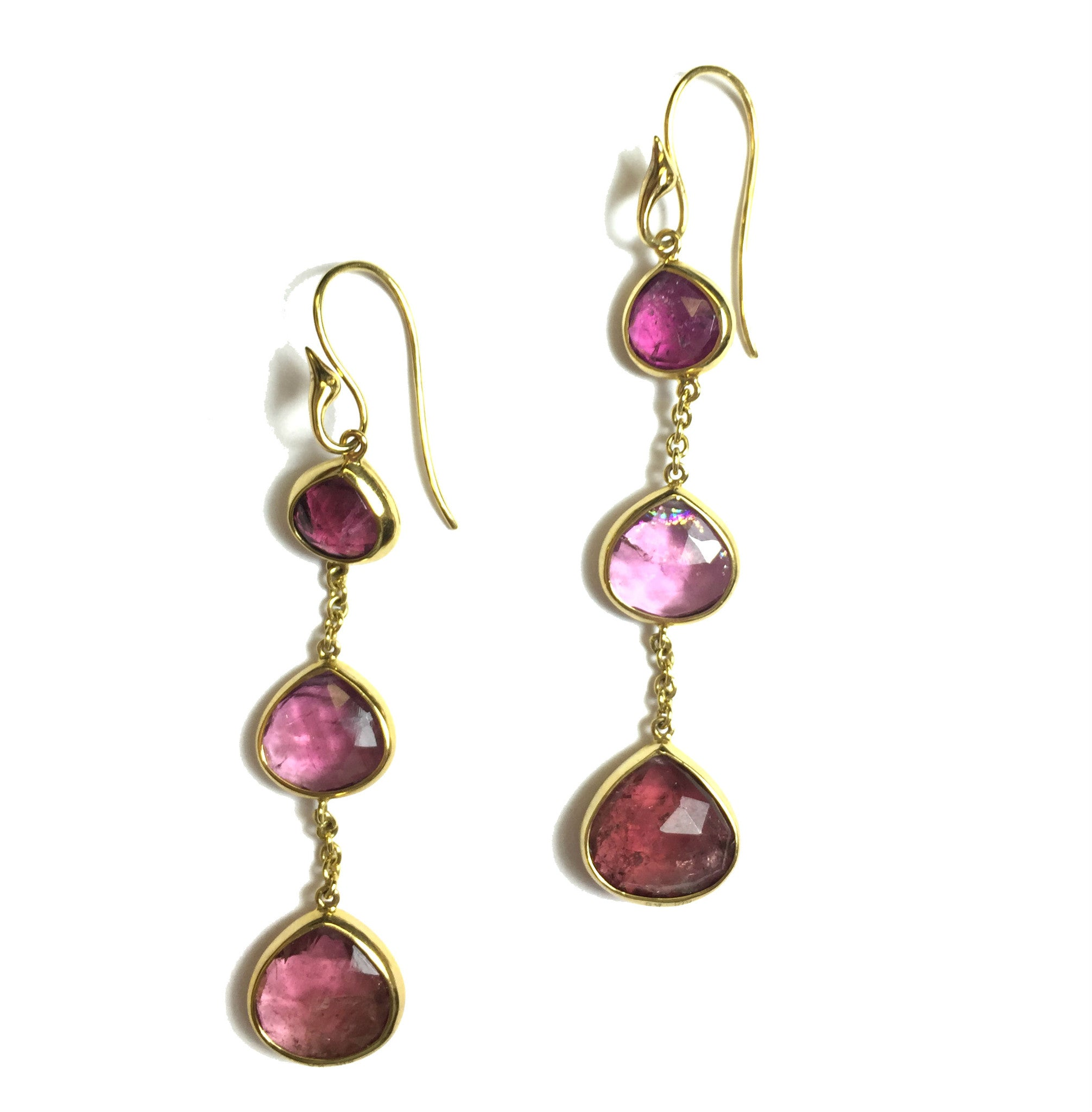 Triple Pink Tourmaline Gold Drop Earrings