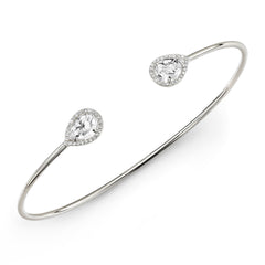 White Topaz Diamond Pear Cuff