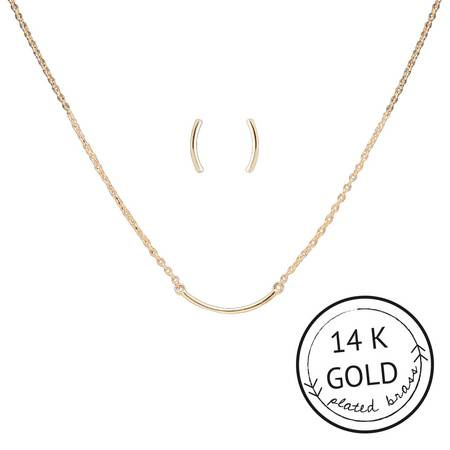 Simple Things Curved Bar Necklace & Earring Set