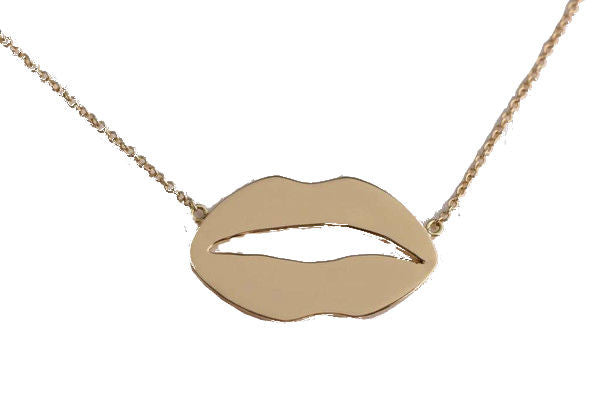 Yellow Gold Lips Necklace