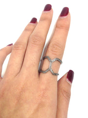 DOUBLE CHEVRON PAVE DIAMOND RING