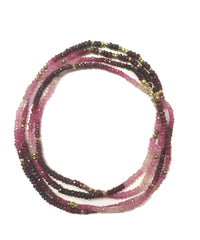 Ruby and Pink Sapphire/Gold Pyrite Long Necklace