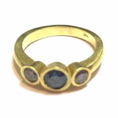 Blue and Champagne Diamond Gold Ring