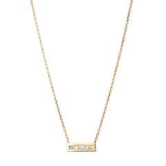 Three Baguette Diamond Necklace