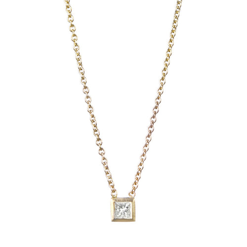 Tiny Princess Cut Diamond Necklace