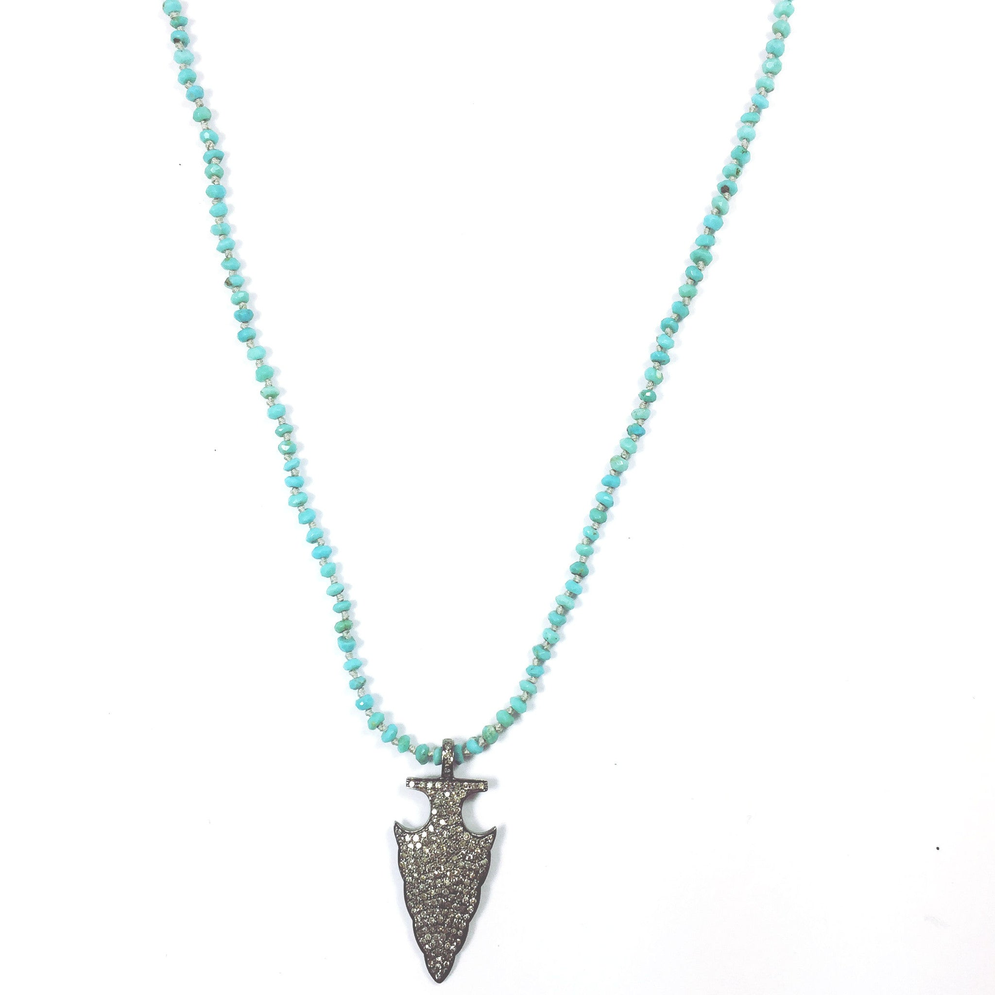 Long Turquoise Arrowhead Pendant Necklace
