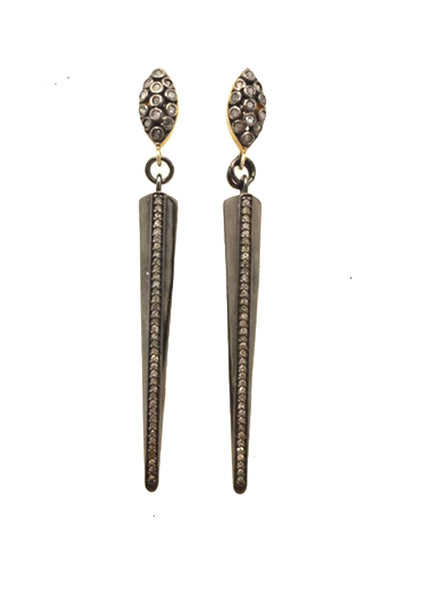 Pave Diamond Rhodium Spike Earrings