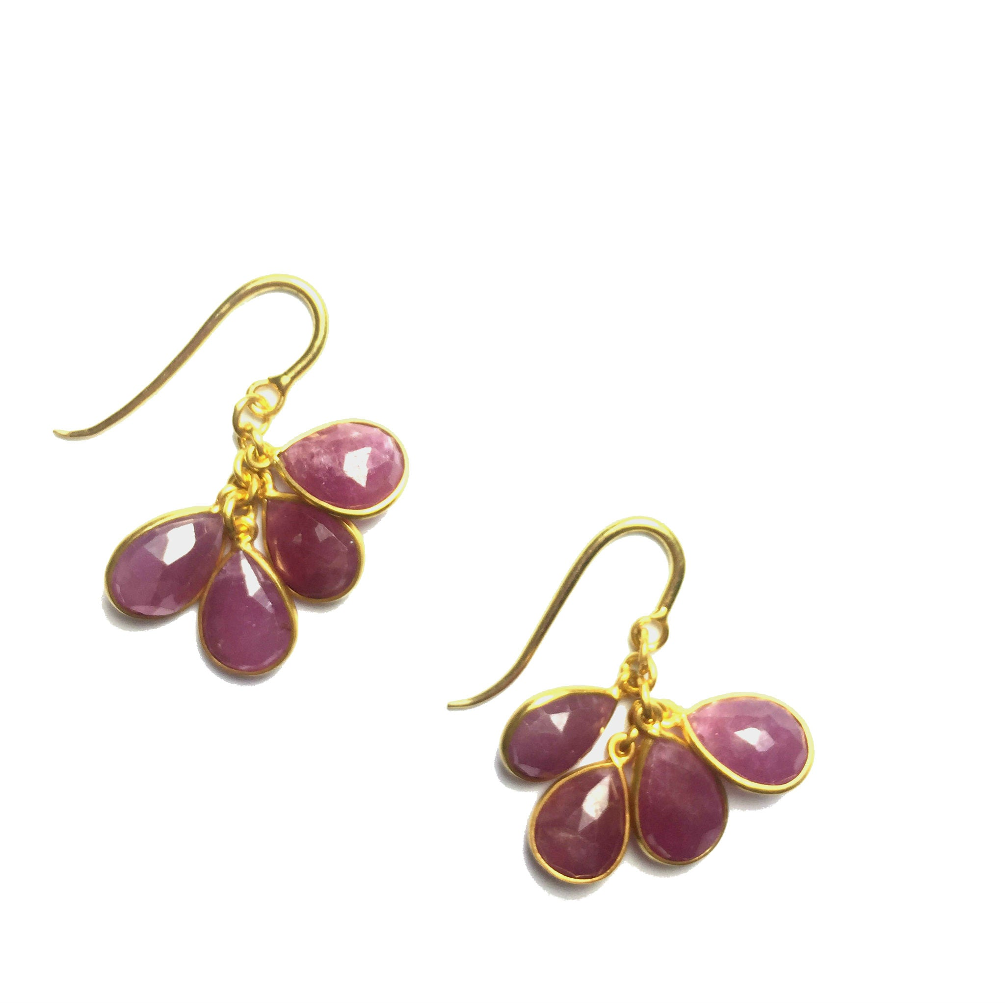 Pink Sapphire Pear Drop Earrings