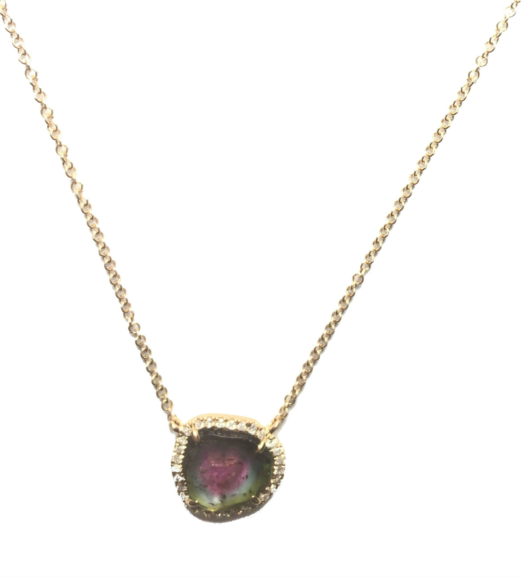 Watermelon Tourmaline Necklace with Diamond Circle