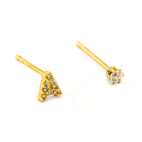 PAVE INITIAL MISMATCHED EARRINGS