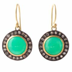 Green Round Chrysoprase Earrings