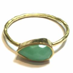 Chrysoprase Teardrop Gold Ring
