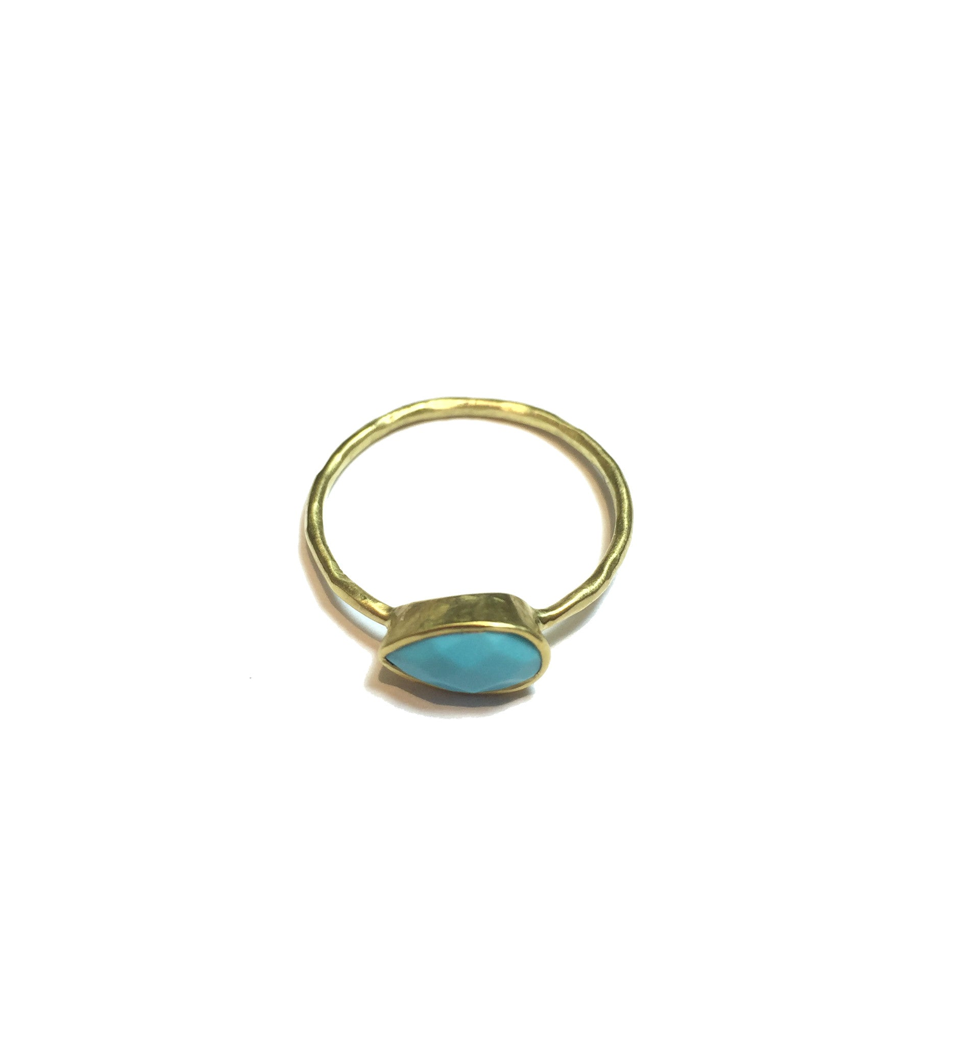 Teardrop Turquoise Gold Ring