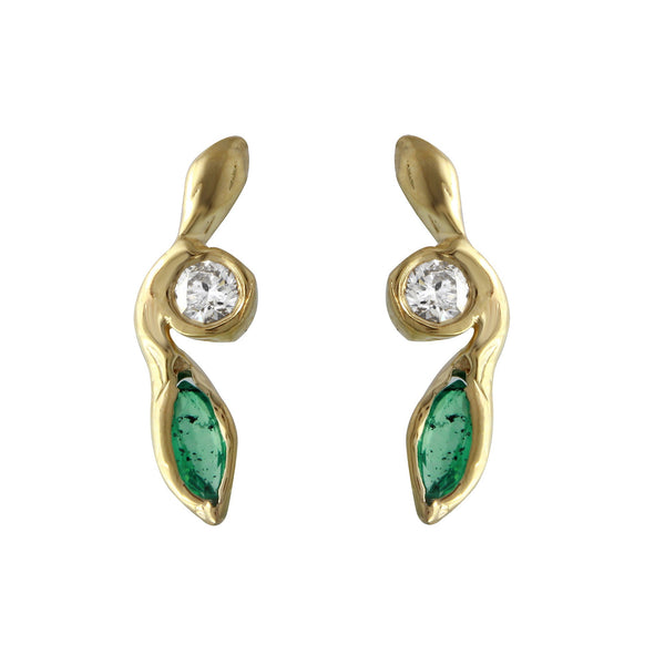 Diamond & Emerald Leaf Earrings