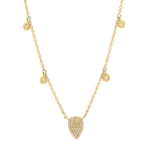 Pave Diamond Pear Shape Necklace