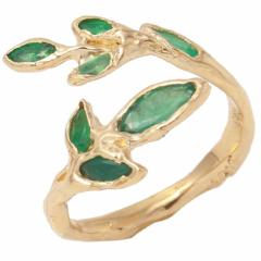 Emerald Marquise Leaf Ring