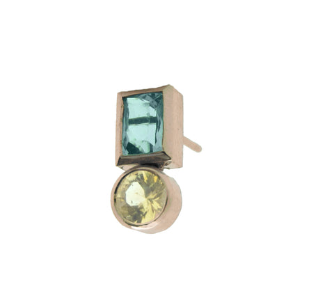 Round Yellow Sapphire & Rectangle Aquamarine Stud
