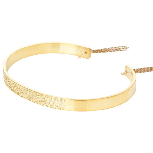 Textured Bangle with Chain Tassles