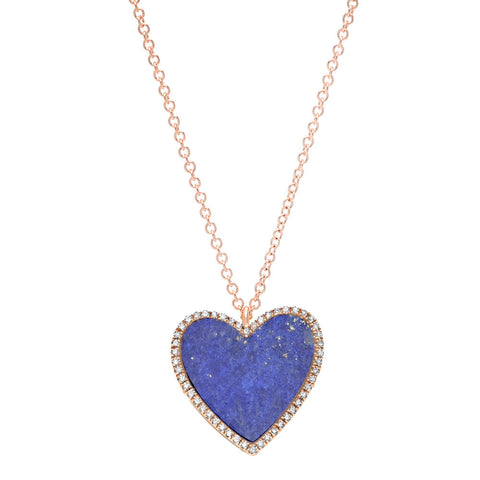Blue Lapis & Pave Heart Necklace