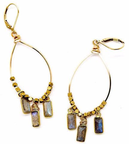 Labradorite Rectangle Drop Hoops