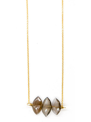 Triple Grey Moonstone Necklace