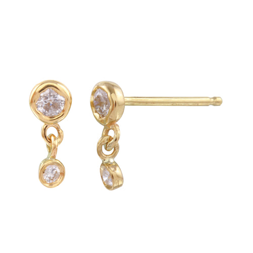 Diamond Double Dangle Studs