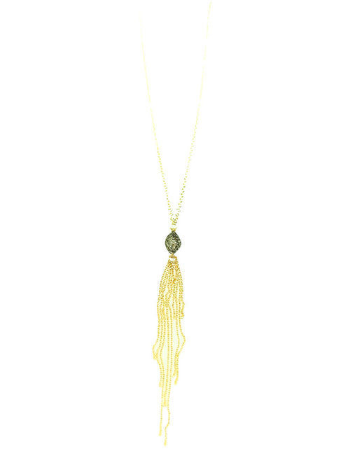 Pave Diamond Football Delicate Tassle Necklace