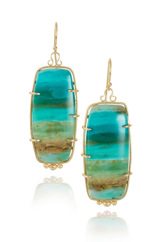 Rectangle Opal in Frame Drop Earrings