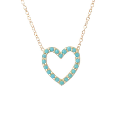 Turquoise Open Heart Necklace