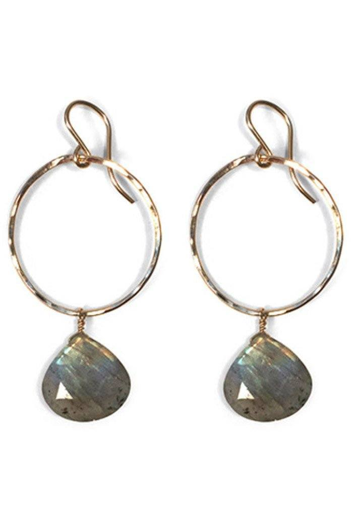 Labradorite Full Circle Pear Drop Earrings