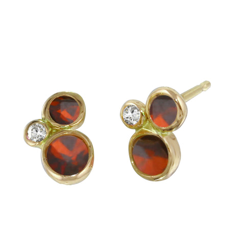 Triple Bezel Diamond & Garnet Studs