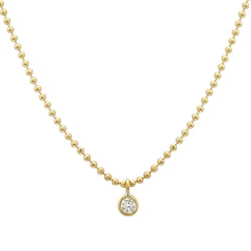 Diamond Bezel Ball Chain Necklace
