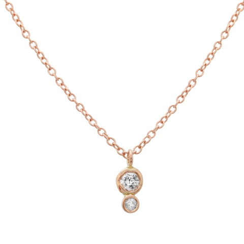 Double Diamond Bezel Necklace