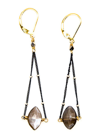 Grey Moonstone Swing Drop Earrings