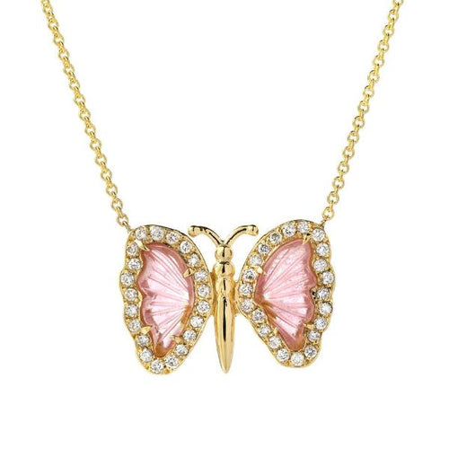 Small Watermelon Tourmaline Butterfly Necklace