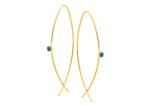 Open Turquoise Crossover Hoops