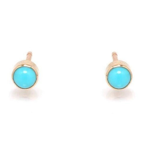 Turquoise Bezel Stud Earrings