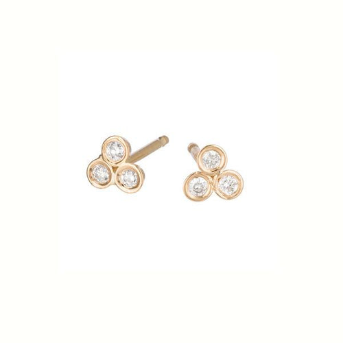 Triad Diamond Bezel Studs