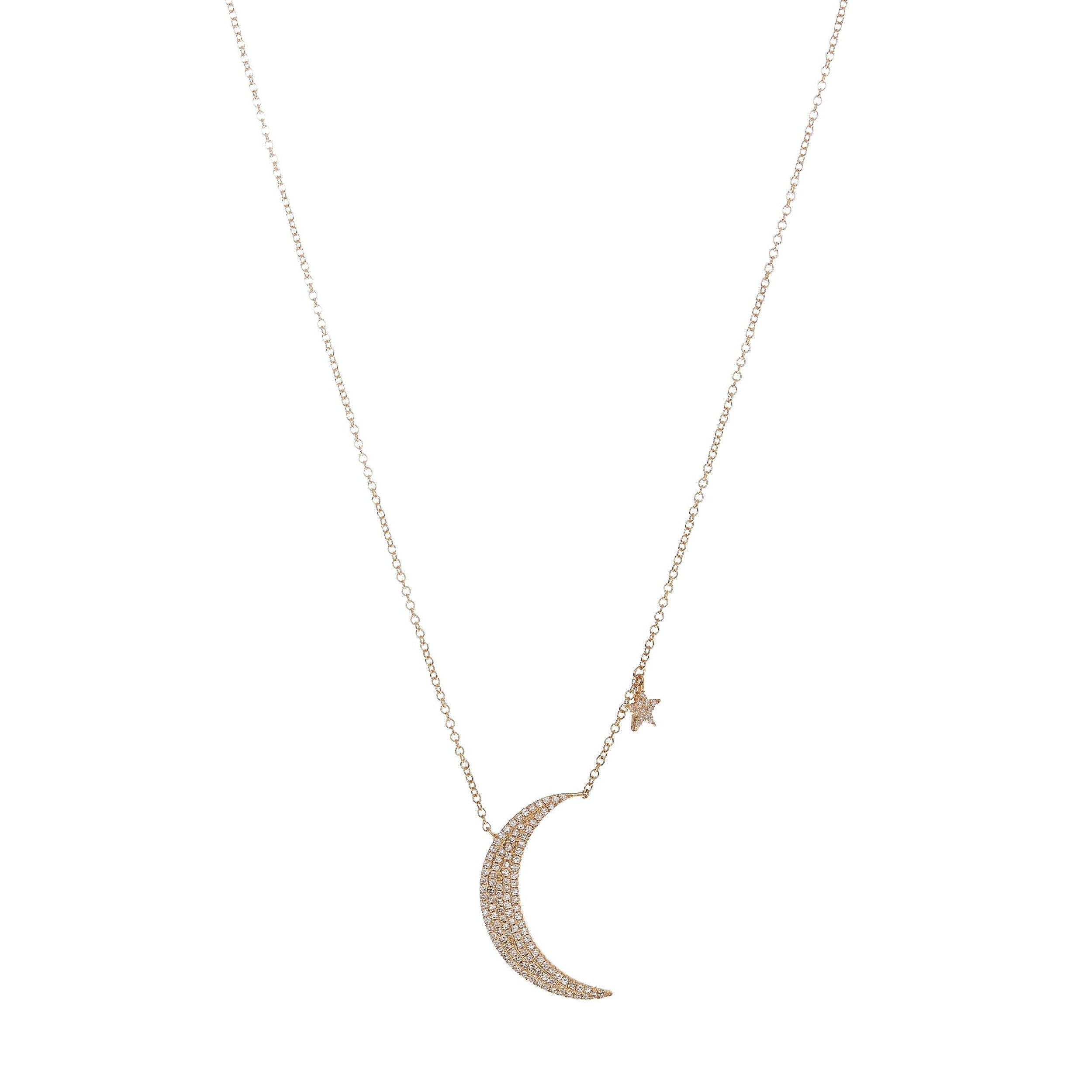 Pave Crescent Moon & Star Necklace