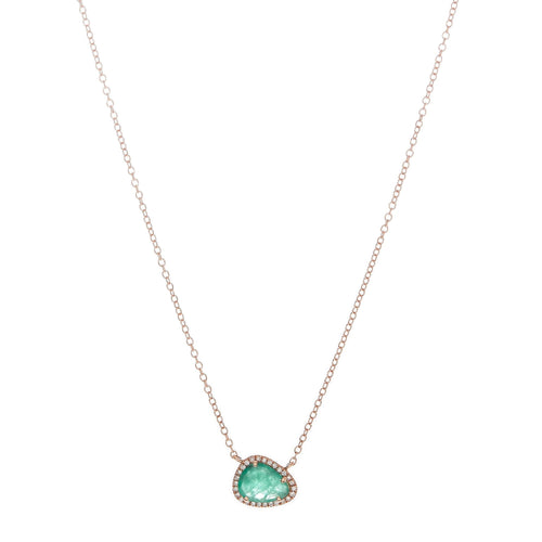 Pave & Emerald Necklace