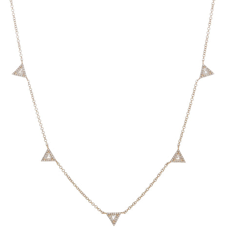 White Topaz & Pave Diamond Triangles Necklace