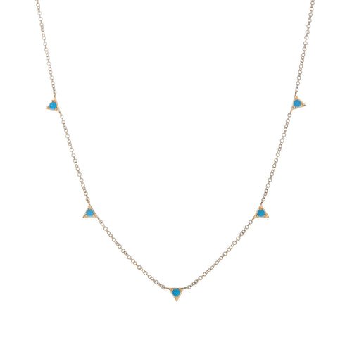 5 Inverted Turquoise Triangles Necklace