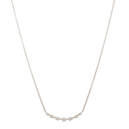 Graduated Diamond Curve Bar Necklace