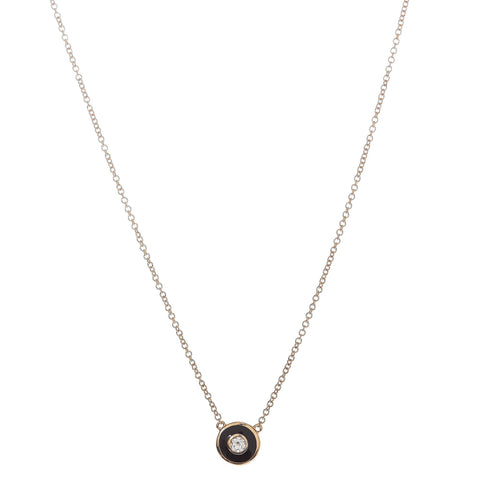 Black Enamel Diamond Disc Necklace
