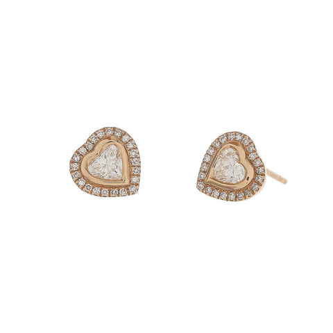 Diamond & Pave Heart Studs