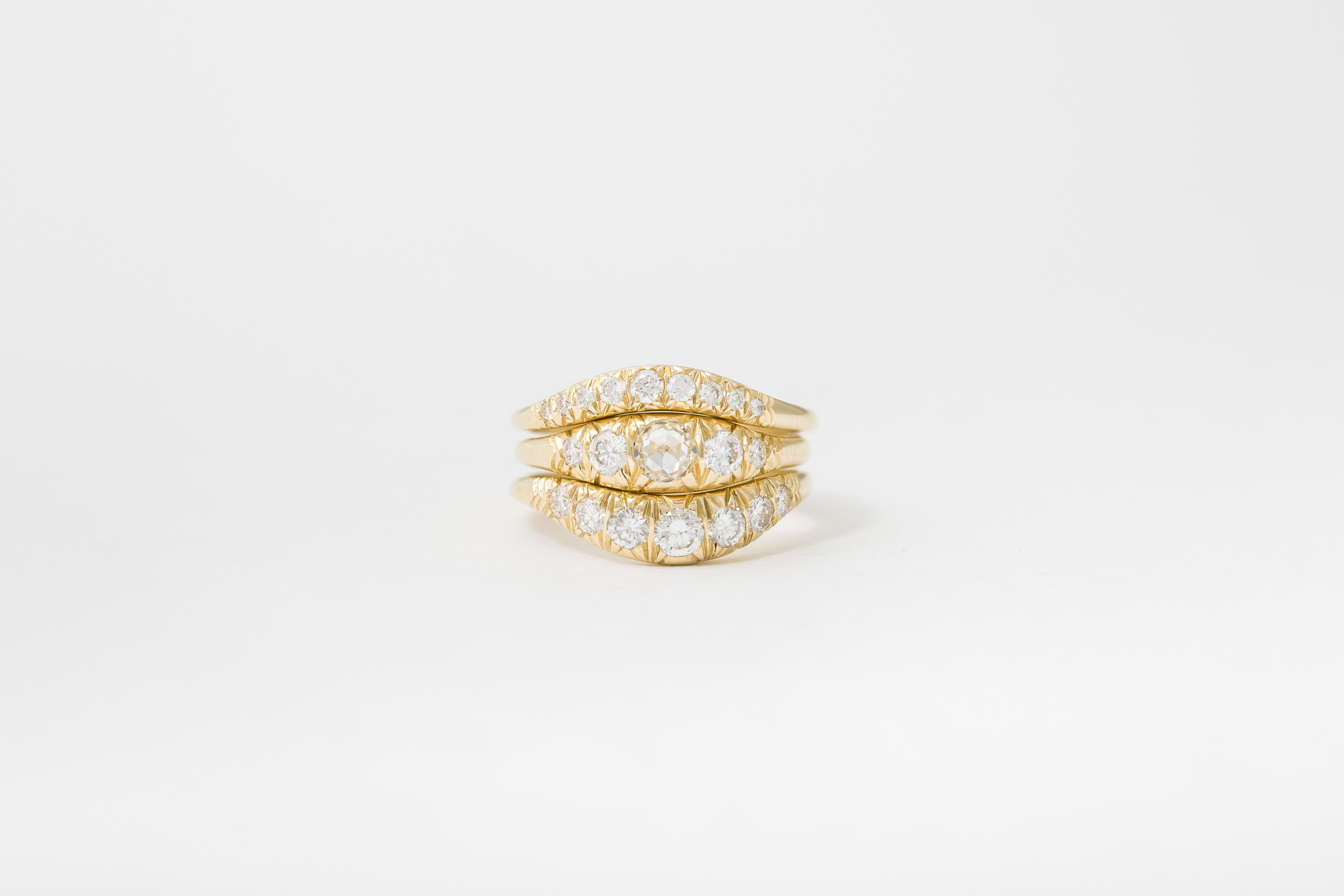 Rose cut Pave Ovate IV Ring