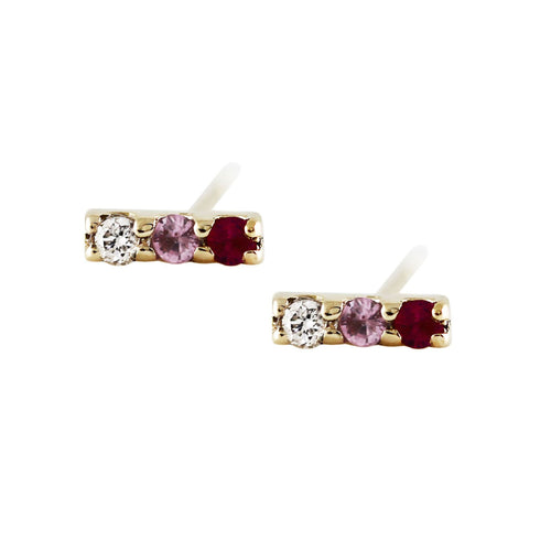Ombre Pink Sapphire Studs