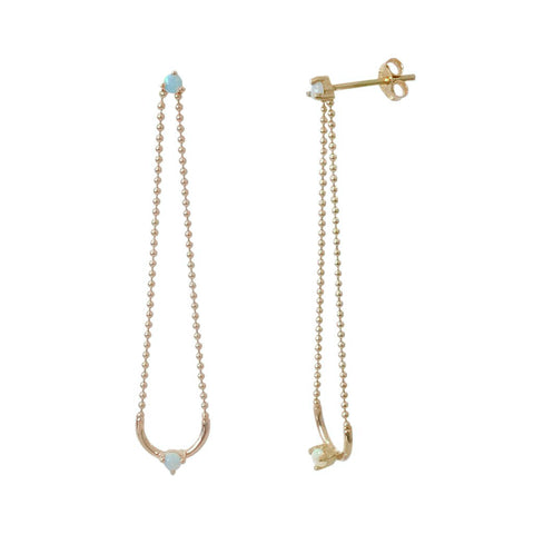 Opal Ball Chain Dangle Earring