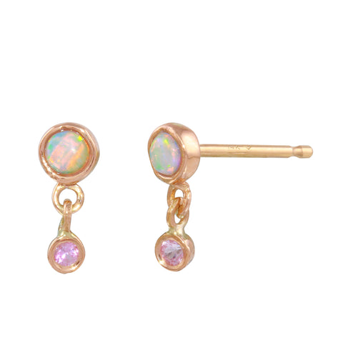 Opal & Pink Sapphire Double Dangle Studs