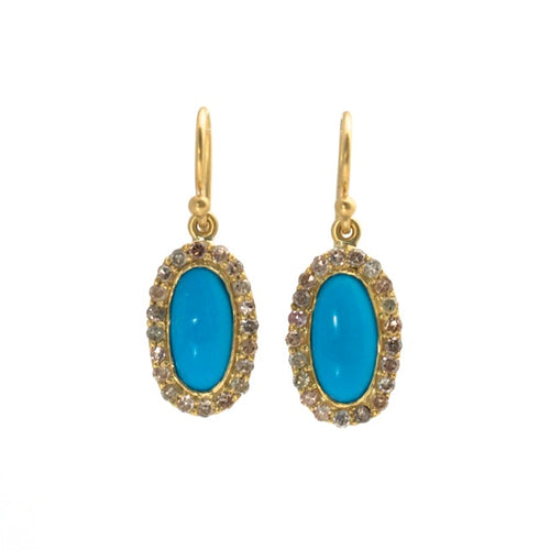 Turquoise Diamond Oval Halo Earrings